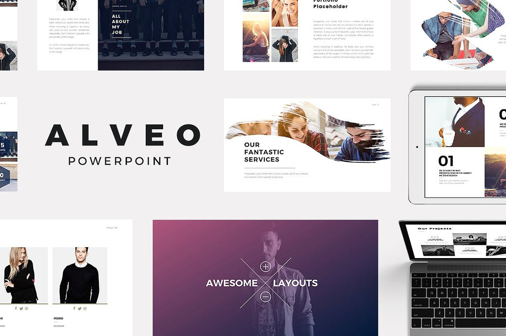 Alveo Minimal Powerpoint Template - Presentation Templates on Slideforest