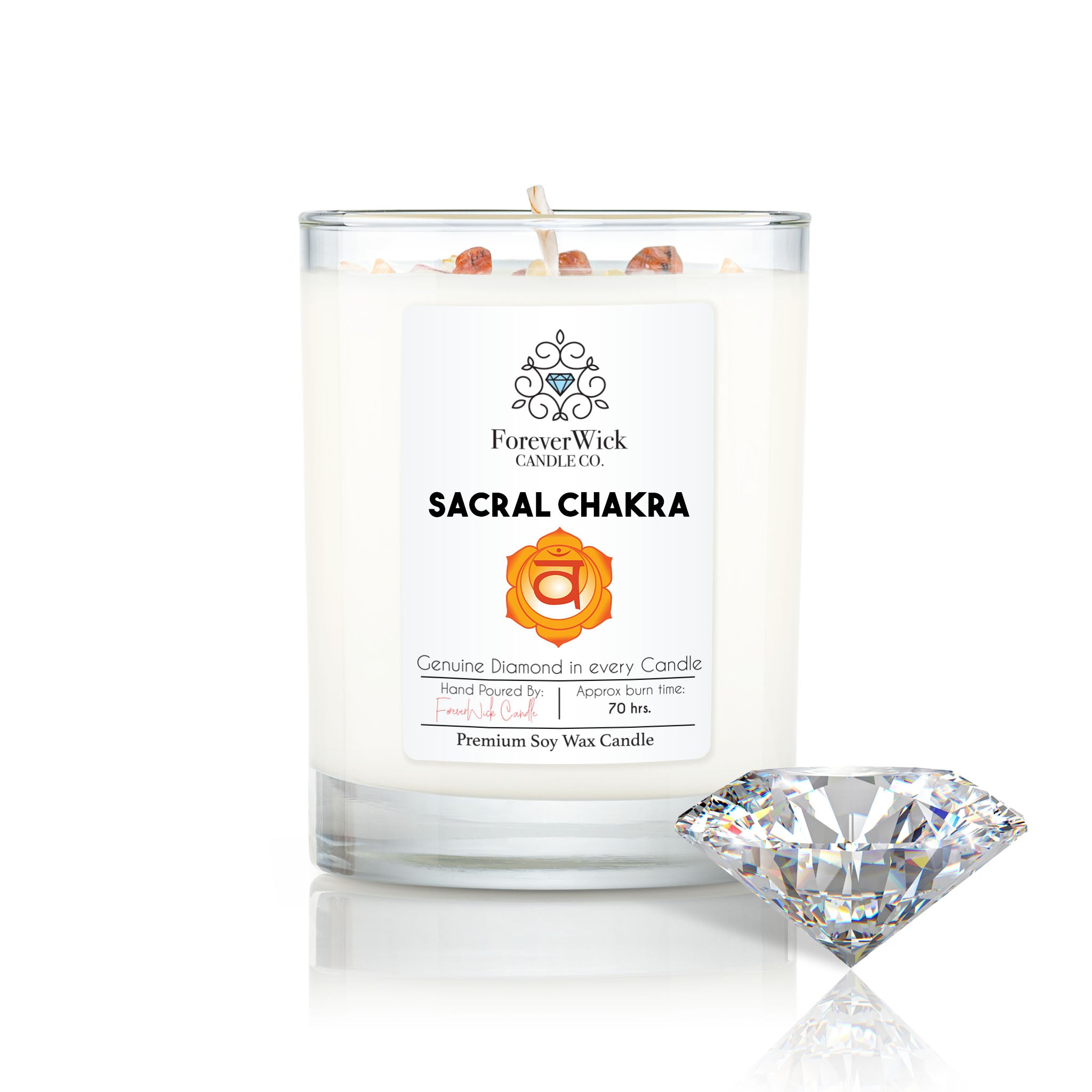 Sacral Chakra - Crystal & Diamond Candle
