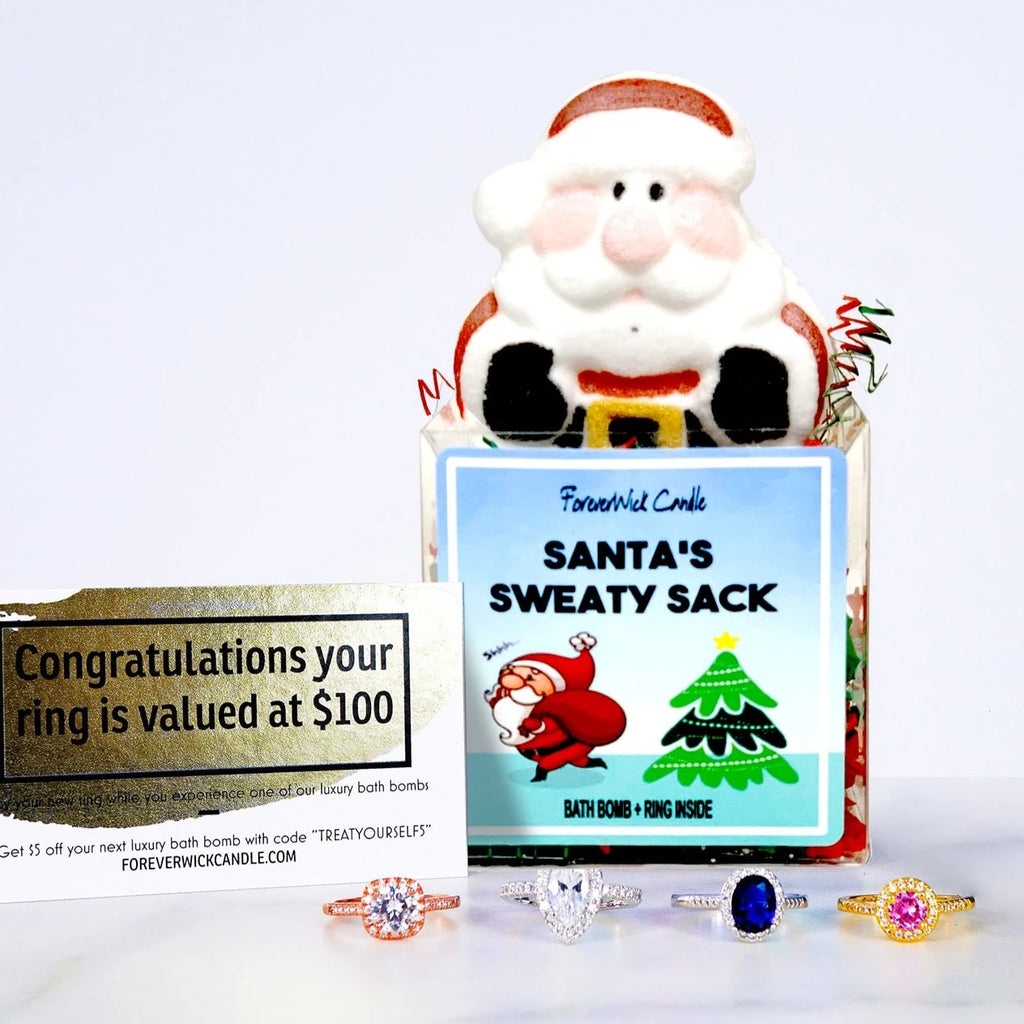 Santa's Sweaty Sack | Luxury Bath Bomb + Ring Inside | Gift Package