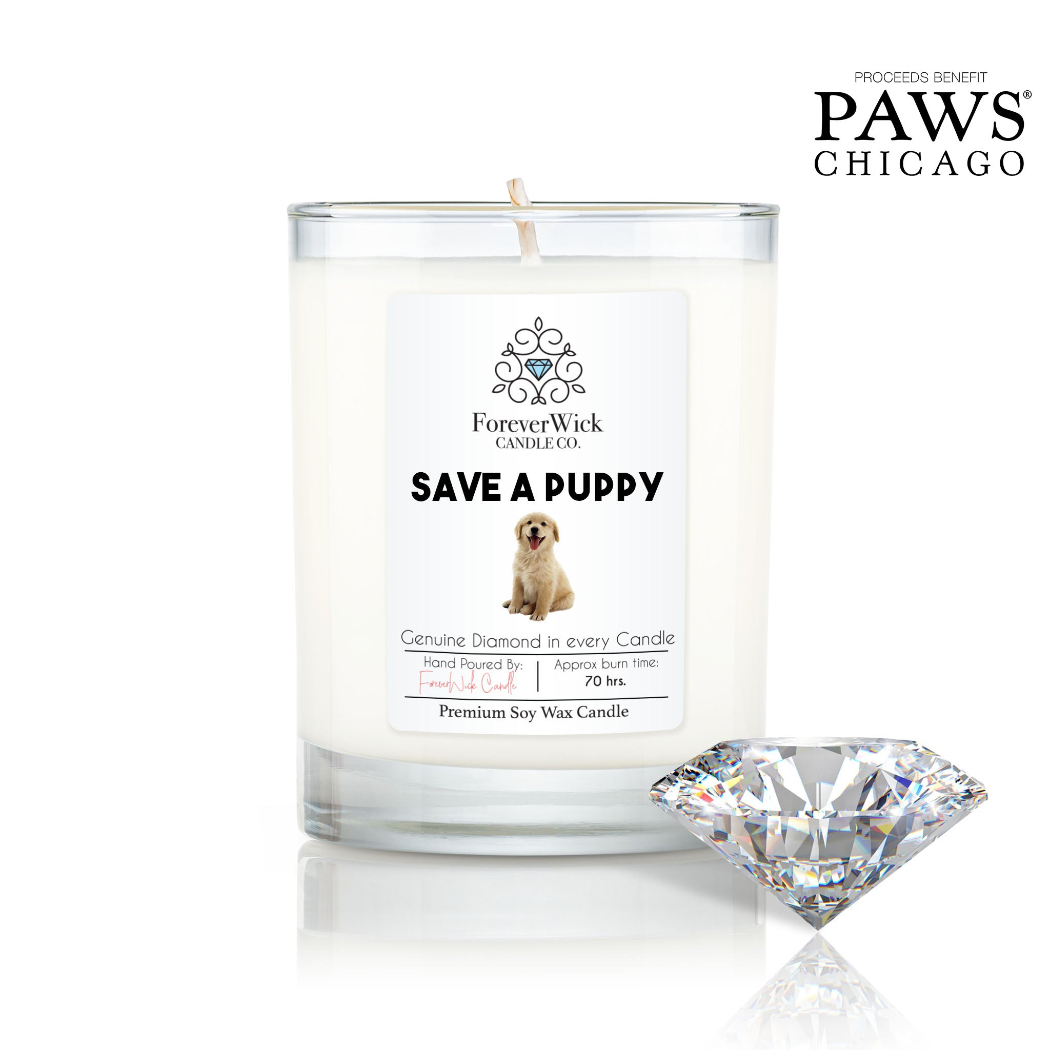Save A Puppy Diamond Candle