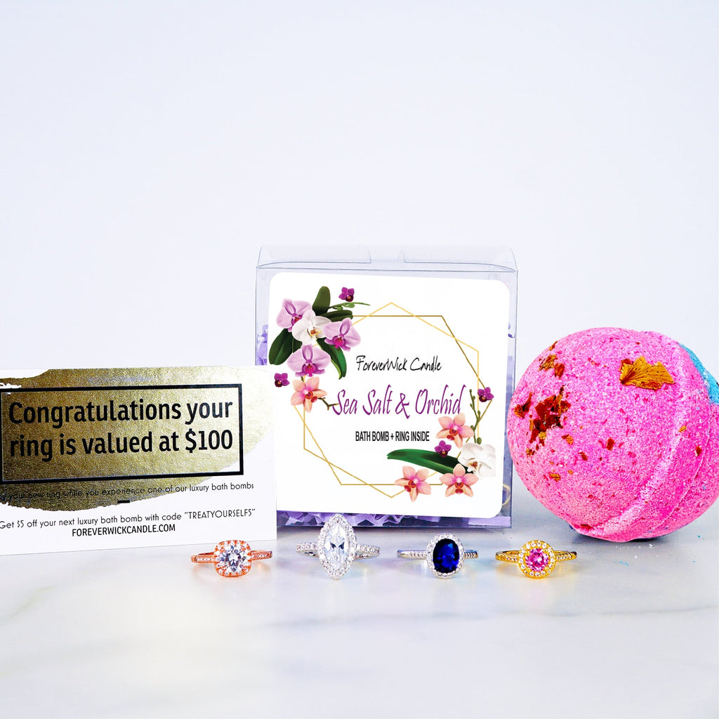 Sea Salt & Orchid | Luxury Bath Bomb + Ring Inside | Gift Package                                -