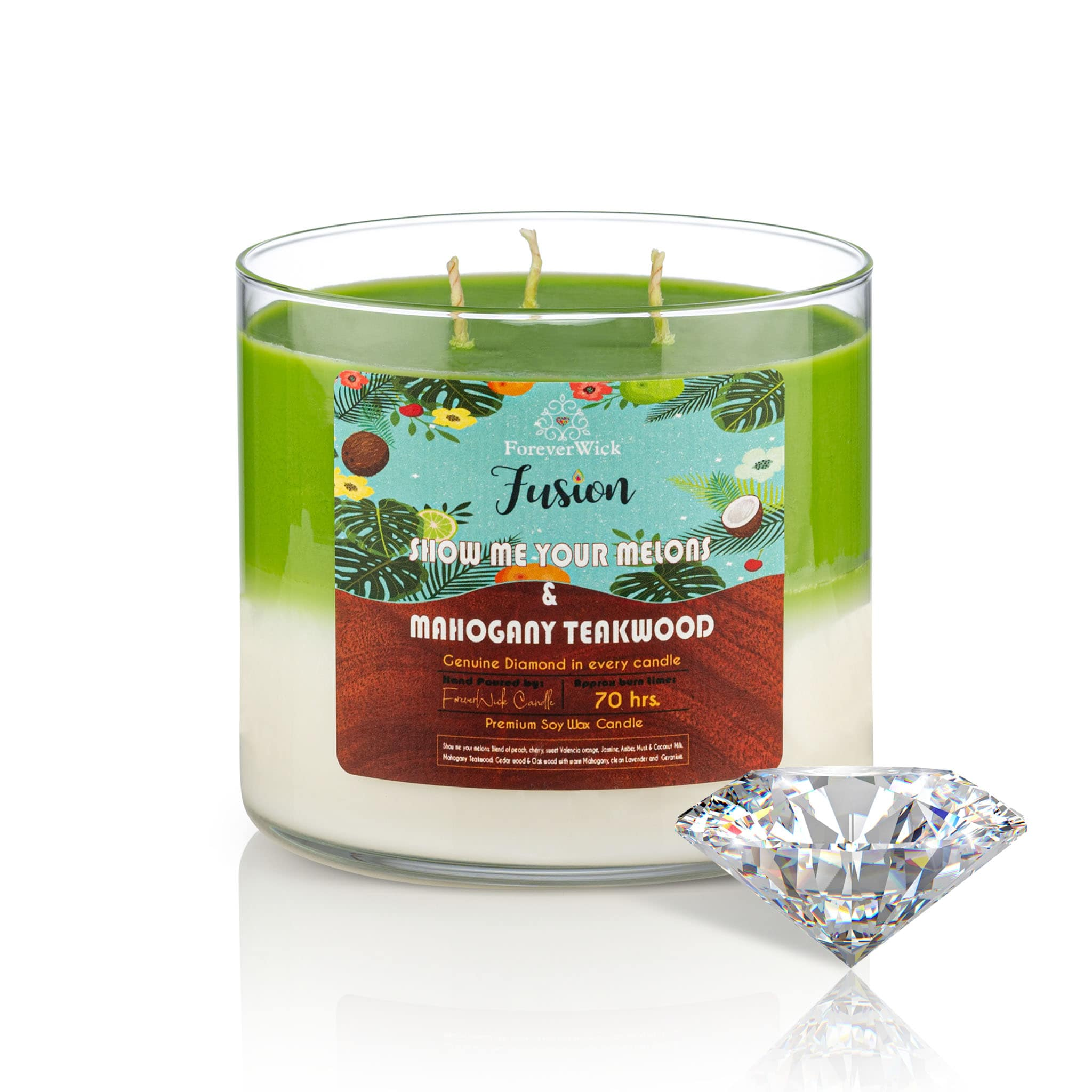 Show Me Your Melons & Mahogany Teakwood Fusion Diamond Candle
