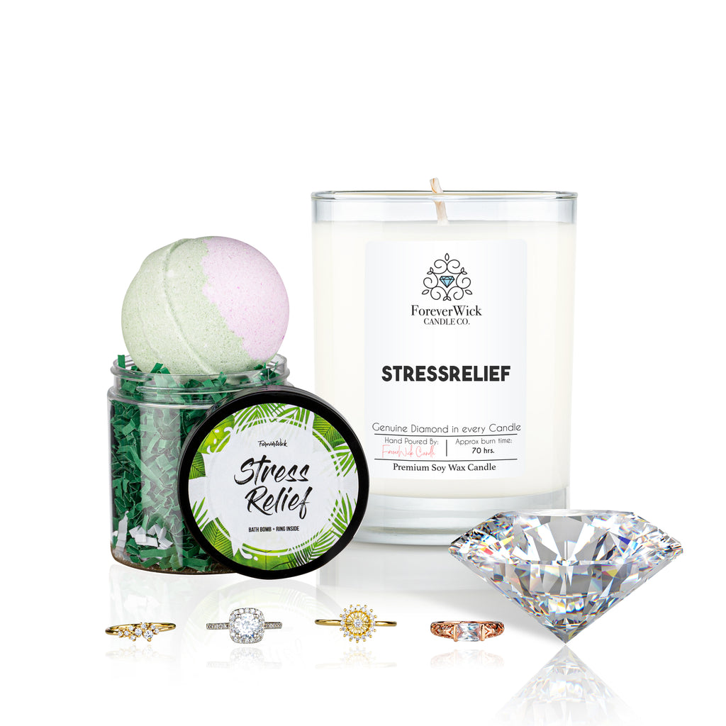 Stress Relief Diamond Candle + Luxury Bath Bomb + Ring Inside