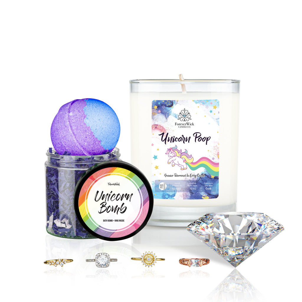 Unicorn Poop Diamond Candle + Luxury Bath Bomb + Ring Inside