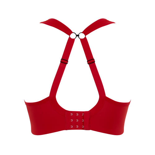 Product shot of Panache Sports Bra in Fiery Red back racerbackview..
