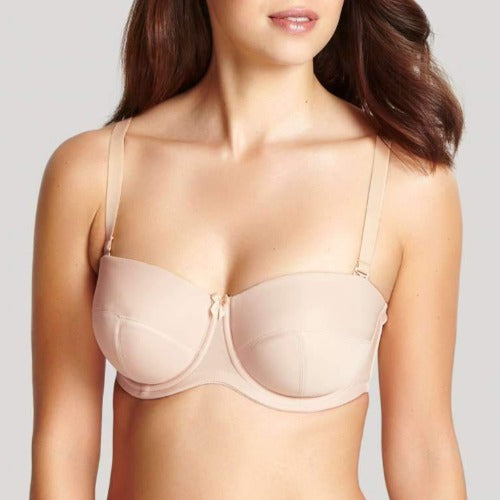 Evie Balconnet Strapless Bra in Chai, worn by model in front view product image.