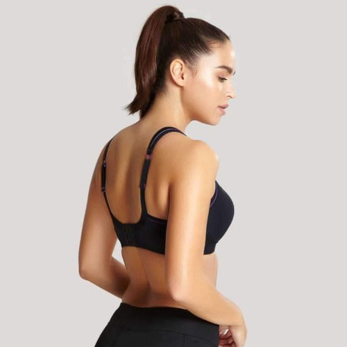 Panache Non Wired Sport Bra in Black, worn by model in back view.