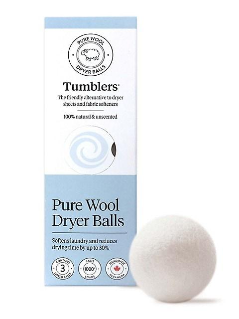 Wool Dryer Ball Tumblers 3 Pack in White, front view product image.
