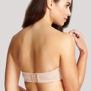 Evie Balconnet Strapless Bra in Chai, worn by model in back view product image.