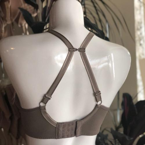 Elise Moulded Bra in Dark Taupe, back view image of bra on mannequin, demonstrating racerback capable straps.