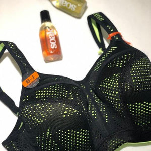 Panache Wired Sports Bra in Black/Lime Mix, front view product image.
