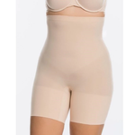 Higher Power Short in Nude, worn by model in front view product image.