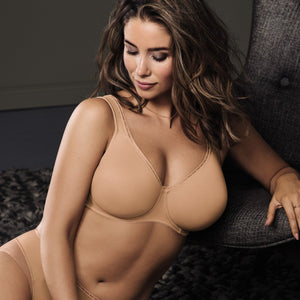Twin Underwire Molded Bra in Nude - Front View