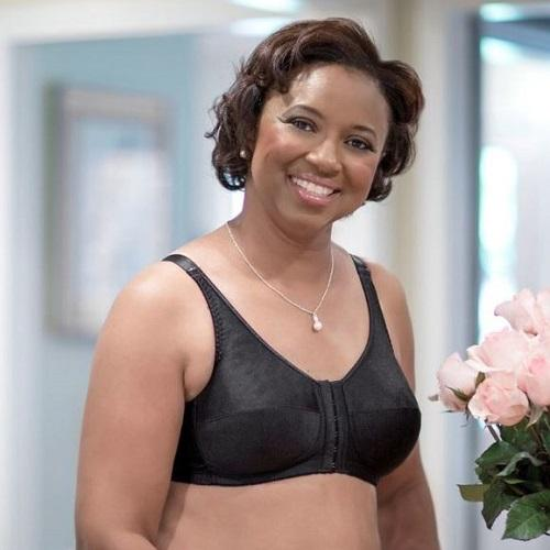 Front Close Rose Contour Post Surgical Bra Black - front view