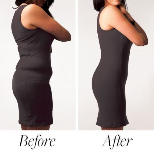 Side view of the Body Hush Sculptor All in One shapewear high waisted short on a model, demonstrating the difference seen before and after wearing the garment under a fitted black dress.