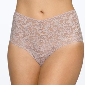 Hanky Panky Plus Retro Thong in Taupe worn by model in front view product image.
