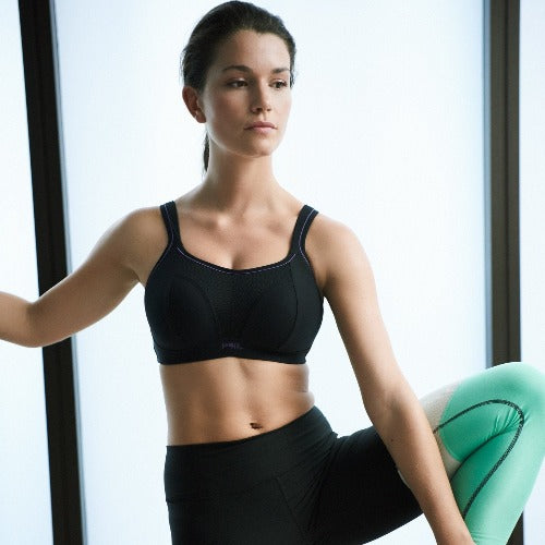 Panache Non Wired Sport Bra in Black, worn by model in lifestyle image.
