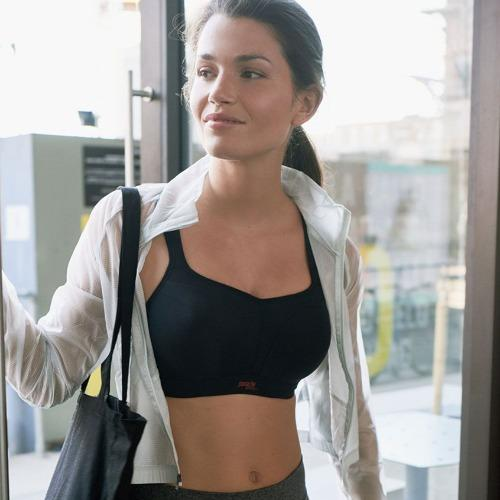 Panache Wired Sports Bra in Black, worn by model in front view lifestyle image.