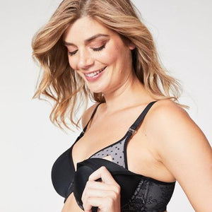 Waffles Moulded Nursing Bra in Black, worn by model in front view product image, demonstrating the drop down cups.