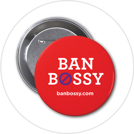 Red button with Ban Bossy logo