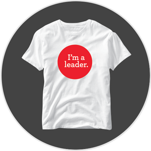 "White tees with ""I'm a Leader"" for kids"