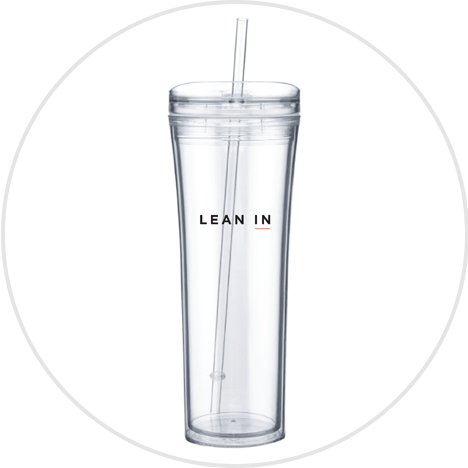 Clear water bottle with straw and Lean In logo