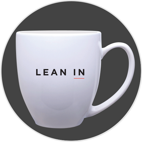 White coffee mug with Lean In logo