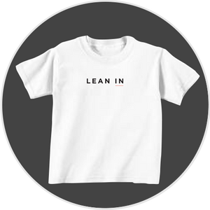 White tee with Lean In logo