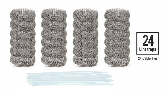 24 Pack of Washing Machine Lint Traps Quality Snares and Rust Proof Stainless Steel Mesh with Ties