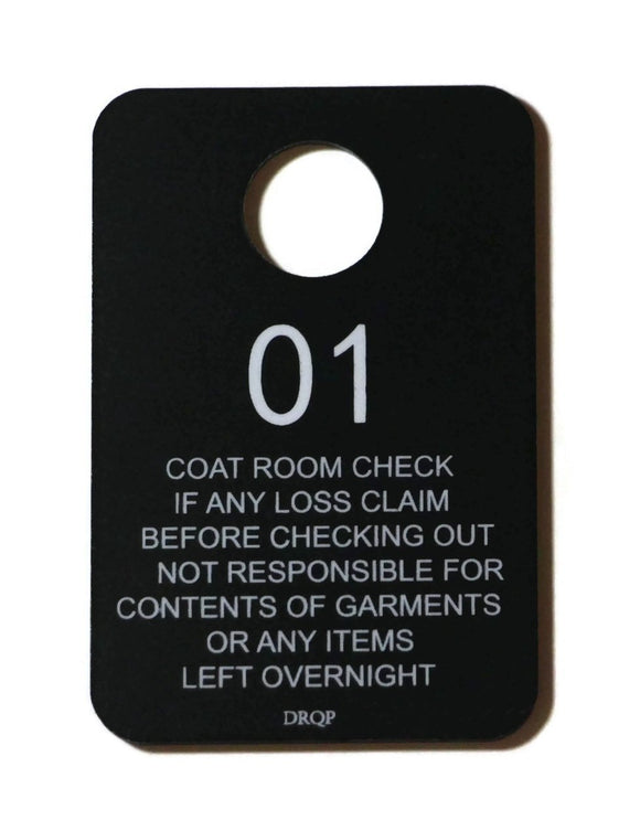DR Quality Parts Plastic Coat Room Check Tags, Numbered 1-100, Heavy Duty- Double Sided, Black Set