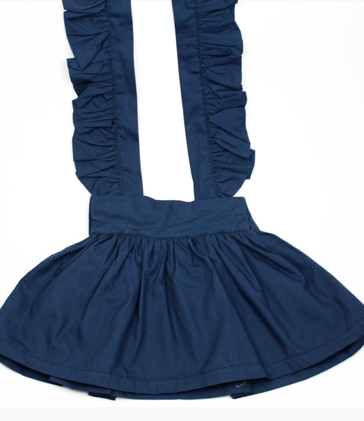 Ava Flutter Suspender Skirt- Navy