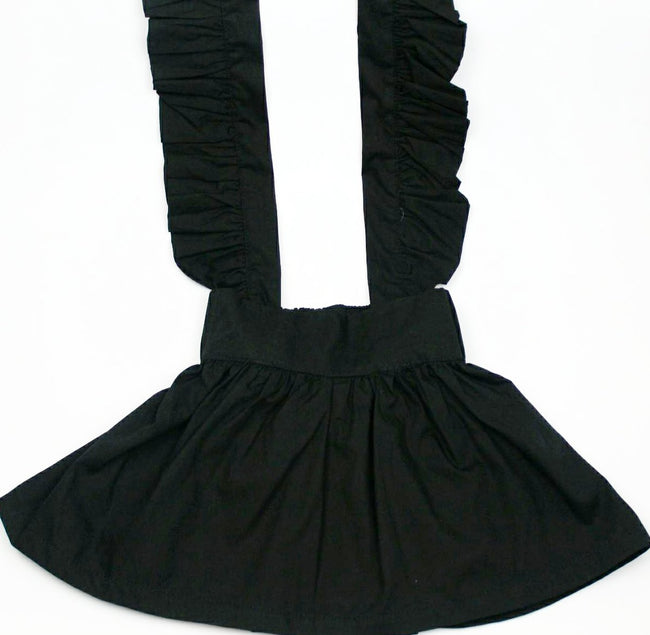 Ava Flutter Suspender Skirt- Black