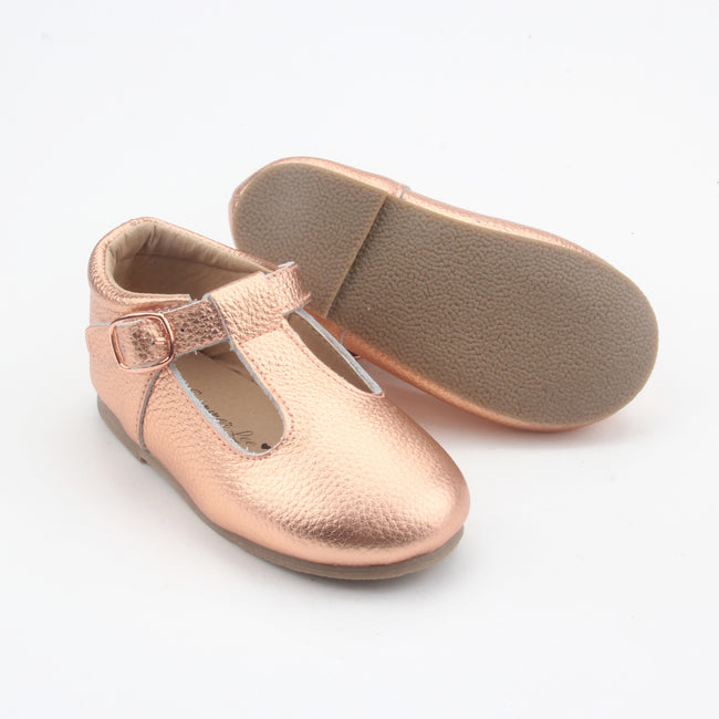Kiara Hard Sole T-Bar- Rose Gold