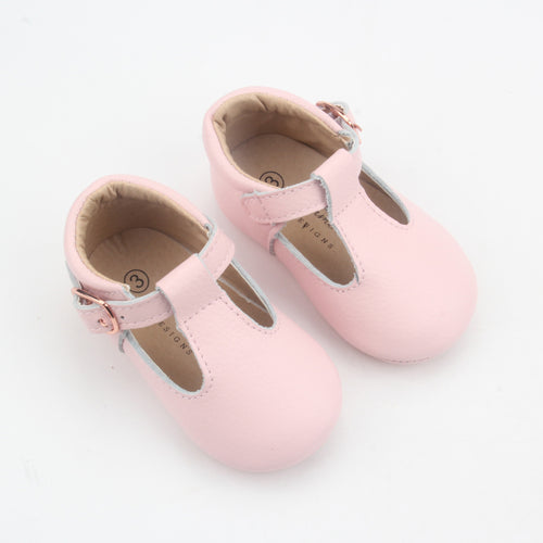 Kiara Soft Sole Leather T-bar- Baby Pink