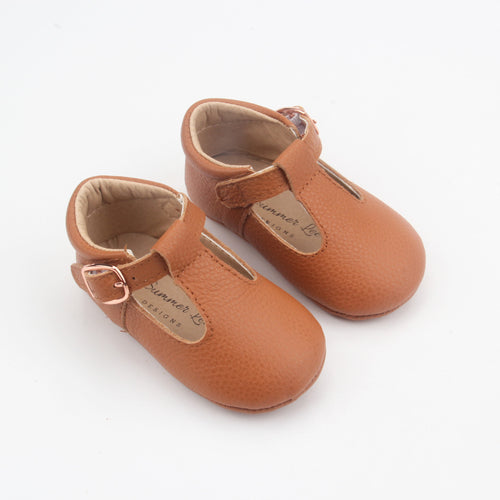 Kiara Soft Sole Leather T-bar- Tan