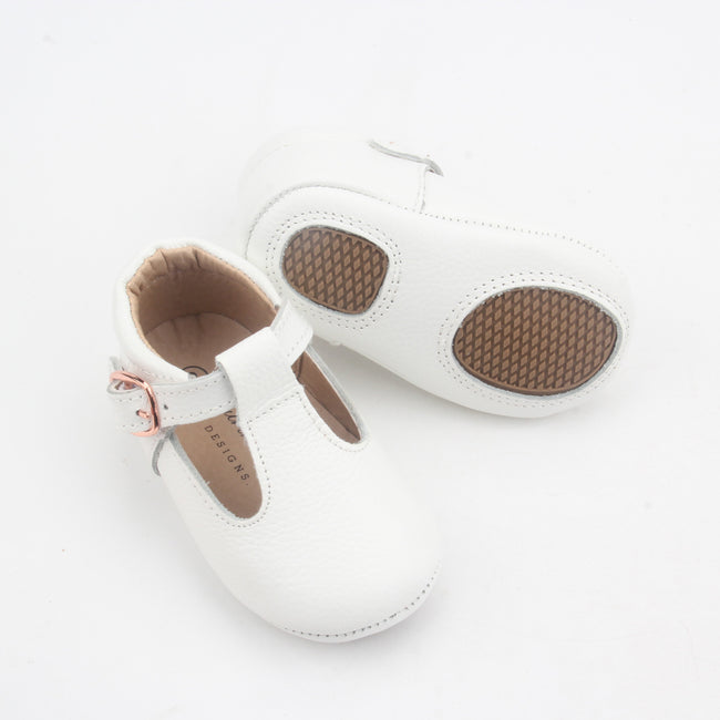 Kiara Soft Sole Leather T-bar- White