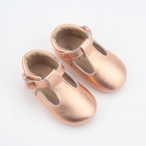 Kiara Soft Sole Leather T-bar- Rose Gold