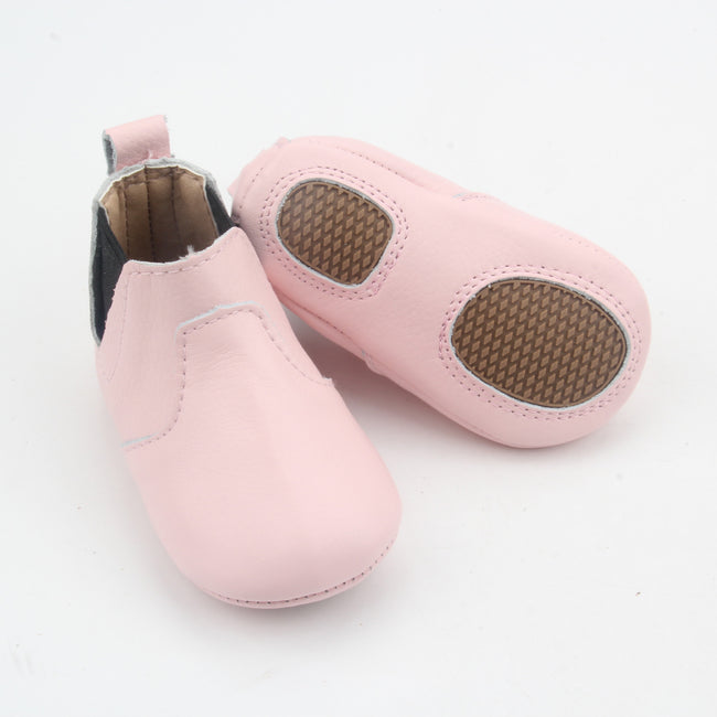 Sierra Leather Grip Sole Boots- Baby Pink