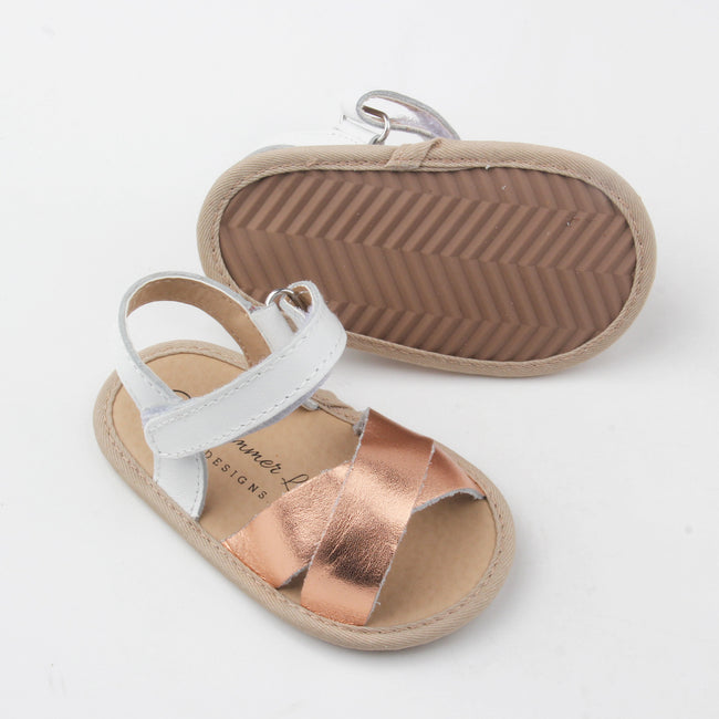 Harper Leather Sandal- White and Rose Gold two-tone