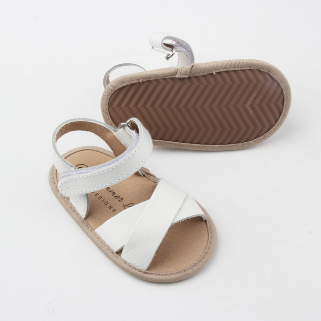 Harper Leather Sandals- White