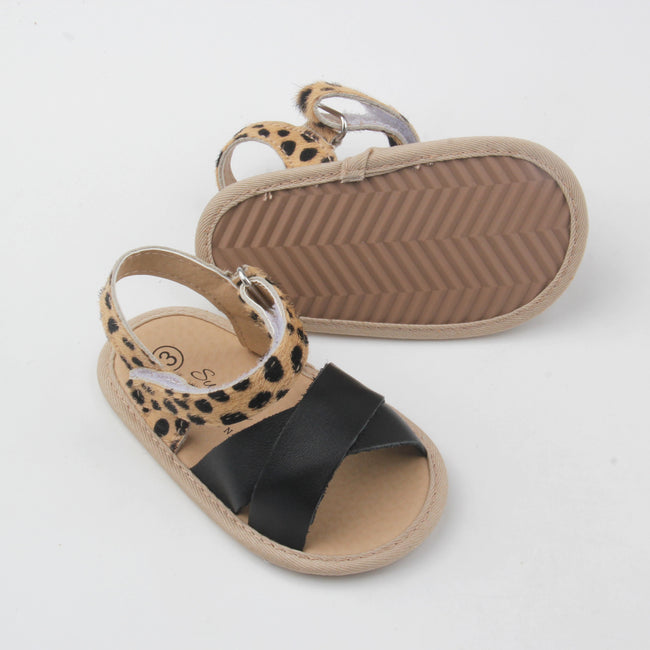 Harper Leather Sandal- Leopard and Black two-tone