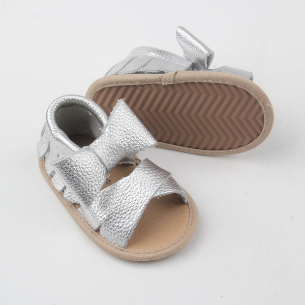 Scarlett Leather Sandals- Silver