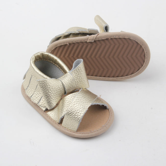 Scarlett Leather Sandals- Gold