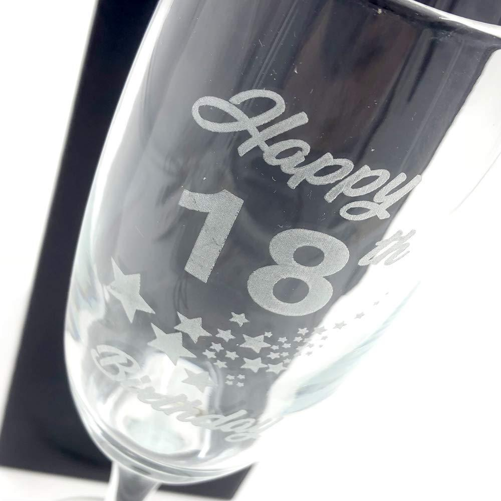 18th Birthday Stars Champagne Flute Glass Gift Boxed - ukgiftstoreonline