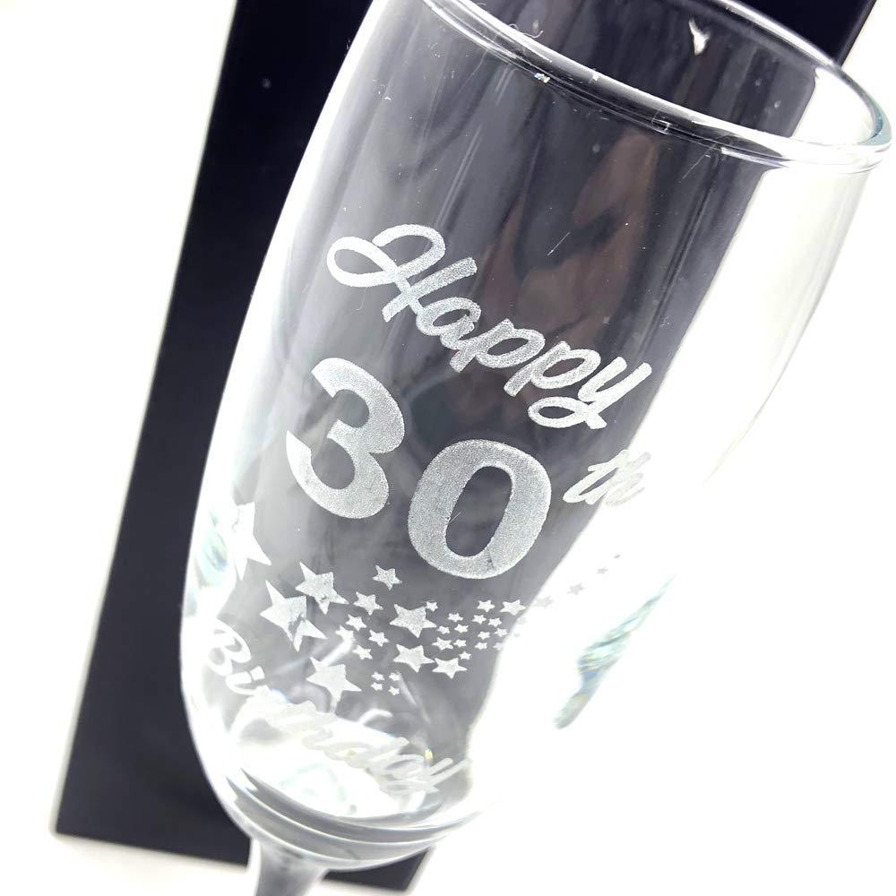 30th Birthday Stars Champagne Flute Glass Gift Boxed - ukgiftstoreonline