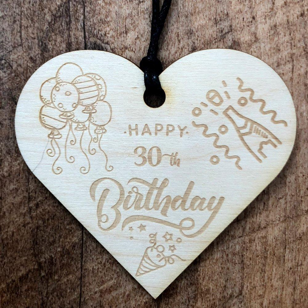 30th Birthday Wooden Hanging Heart Wedding Plaque Gift - ukgiftstoreonline