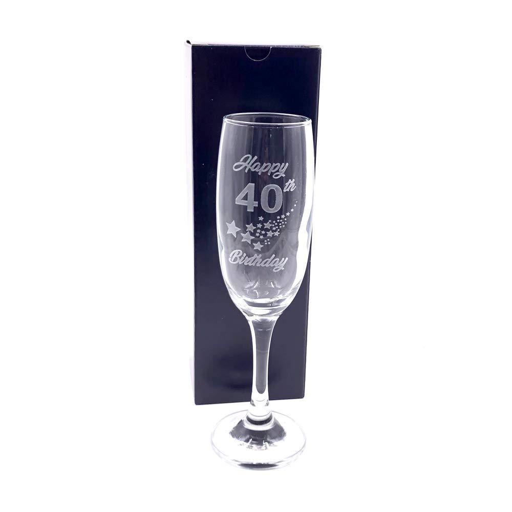 40th Birthday Stars Champagne Flute Glass Gift Boxed - ukgiftstoreonline