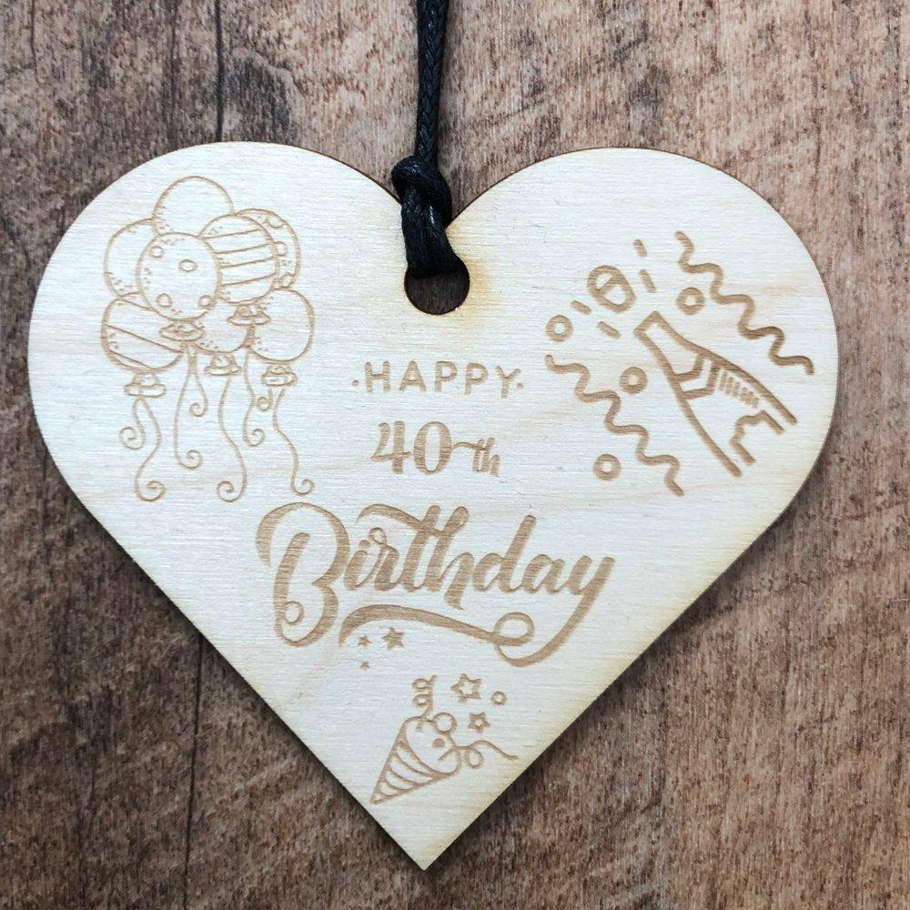 40th Birthday Wooden Hanging Heart Wedding Plaque Gift - ukgiftstoreonline