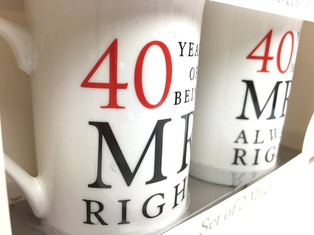 40th Ruby Wedding Anniversary Gift - Pair Of Mugs - ukgiftstoreonline