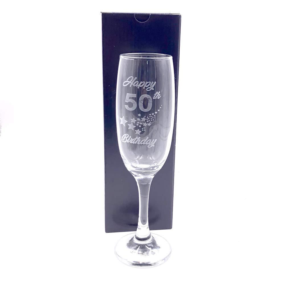 50th Birthday Stars Champagne Flute Glass Gift Boxed - ukgiftstoreonline